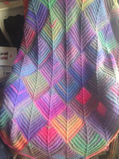 Colorburst Mitered Square Knit Afghan by MaysieKnits on Etsy, $95.00