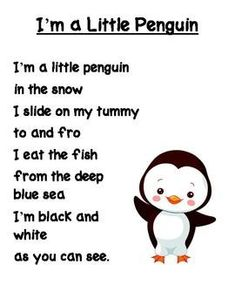 I'm a Little Penguin Poem free printable This is just a cute little poem/song about penguins. It is sung to the tune of I'm a Little Tea Pot. Penguin Craft, Penguin Songs, Snowman Poem, Penguin Quotes, Kids Poems, Children Songs, Easy Poems For Kids, Funny Poems For Kids, Penguins
