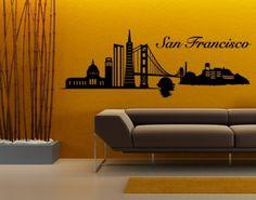 San Francisco Skyline Wall Decal, Sticker.