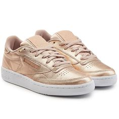 ab4a550bb41edb Reebok Club C 85 Metallic Leather Sneakers (€85) ❤ liked on Polyvore  featuring shoes