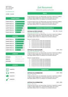 Zeeburg - Modèle de CV Classique - Vert Resume Design Template, Resume Templates, Resume Tips, Free Resume, Cv Curriculum Vitae, Professional Resume, Words, Classic, Green