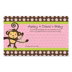 Monkey Girl - Personalized Baby Shower Helpful Hint Advice Cards - #HappyDot #BigDot #Monkeybabyshower #Monkeybabyshowergames #babyadvicecards