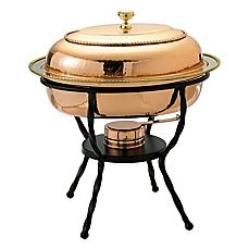 image of Old Dutch International 6 qt. Oval Chafing Dish in Décor Copper