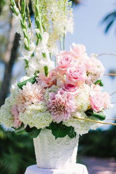 So many pretty flowers in one arrangement: http://www.stylemepretty.com/california-weddings/santa-barbara/2015/01/14/vintage-chic-wedding-at-santa-barbara-four-seasons/ | Photography: Daniel Kim -