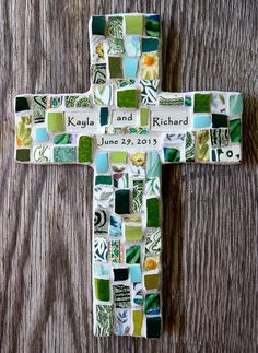 Classic Personalized Mosaic Cross with Broken by PeaceByPieceCo, $44.95 Great gift ideas for Weddings, Anniversaries, Christenings and more...