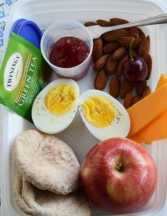 Healthy breakfast to-go ideas #1: Hardboiled egg, grains & jam, apples, cheddar cheese, almonds.  # 4 hour body mini 2nd breakfast.