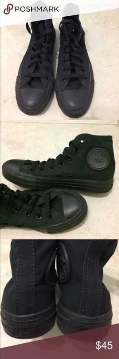 All Black Hi-Top Converse All black high tops. Worn a few times. Will clean before shipping. Converse Shoes Sneakers
