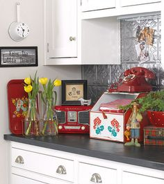 Small red kitchen.