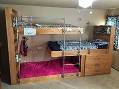 Woah check out this triple bunk bed project! Would be awesome for a dorm or cabin where you want to save space.