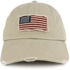 Washed Frayed Bill USA American Flag Cotton Twill Baseball Cap (USA35) e63924ae383