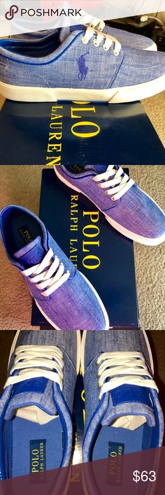 Polo Ralph Lauren Faxon Low: Blue Chambray, 9,NWB! POLO Ralph Lauren Faxon Low, Size 9 Brand new with box, Deadstock Blue Cotton Chambray, Denim blue color body with Royal Blue Polo jockey on exterior. Royal blue POLO leather plate On tongue  Classic to be worn in virtually any situation. Polo is timeless, these will last you the rest of your life! Polo by Ralph Lauren Shoes Boat Shoes
