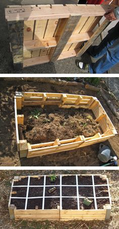 Pallets were used in this project to create a low-cost raised garden bed for square foot gardening - protecting the timber inside the bed with a plastic liner will help preserve the life of the structure.