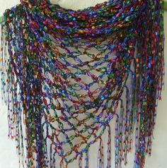 Crochet scarf women/fringe/wrap/triangle scarf/multi-colored/ladder ribbon…