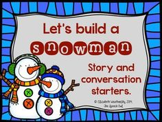 Let's build a snowman!!!! Check out this free pack of 12 silly snowman themed story/conversation starters. These story starters are great for working on narrative skills, writing, grammar and/or articulation carryover skills.  You also get 2 snowman bases and snowman accessory pieces to use as a reinforcer!