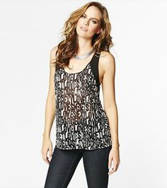Let this tank do all the flirting! Pair this printed knit chiffon tank with our faux leather leggings for the sexiest night out look! Faux Leather Leggings, Queen B, All About Eyes, Night Out, Style Me, Chiffon, Tank Tops, Knitting, Sexy