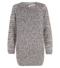 New Look - Grey Cable Rib Knitted Jumper Dress.