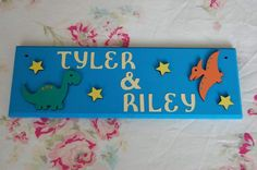Dinosaur Personalised Boys Sign Bedroom Door Name sign / Hadleigh Essex Dinosaur Nursery, Dinosaur Gifts, Shared Bedrooms, Name Plaques, Bedroom Doors, Personalized Signs, Name Signs, Craft Items, Handmade Crafts