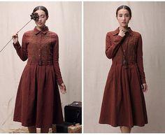 Loose Fitting Long Maxi Dress - Brown Summer Dress - long Sleeve Cotton Sundress for Women Girls Sundress fitting Asymmetrical dress jacket