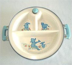 Vintage Excello baby's warming dish featuring Little Boy Blue, 1940's.