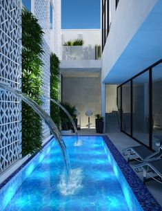 Family villa modern exterior design の comelite architecture, structure and interior design モダン タイル Backyard Pool Landscaping, Backyard Pool Designs, Small Backyard Pools, Swimming Pools Backyard, Swimming Pool Designs, Kleiner Pool Design, Small Pool Design, Modern Villa Design, Luxury Homes Dream Houses
