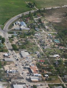 An aerial shot shows the path of the tornado after it stormed through Quapaw, Oklahoma on April 28, 2014.