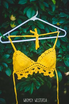 Yellow Floral Crochet Top  Hippie Festival by whimsywisteria, $35.00