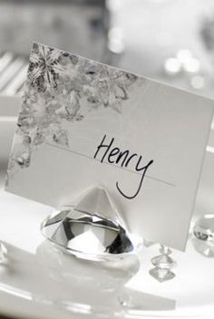 Gorgeous silver crystal place card holder
