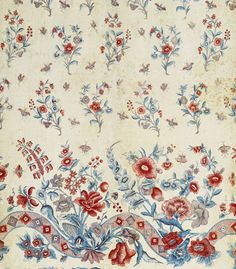 With a border. Indienne Panneau pour jupe, décor peint aux mordants et teinture  Inde, fin 18ème siècle