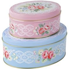 Cath Kidston Set of 2 Oval Button Tins