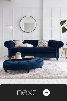 Motication doen't last forever so KEEP working on it. Art Deco Living Room, Navy Living Rooms, Blue Living Room Decor, Living Room Goals, New Living Room, Living Room Sofa, Living Room Designs, Navy Blue And Grey Living Room, Blue Lounge