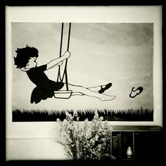 'Jenny on a swing'. Vintage inspired childrens posters. Large. - by huckleberry_jones on madeit