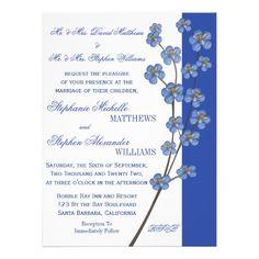 Blue Orchid Wedding Theme | Cobalt Blue Orchid Sprig Wedding Custom Announcement