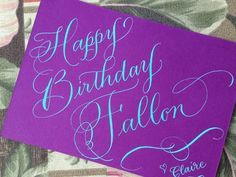 Birthday card, teal green calligraphy