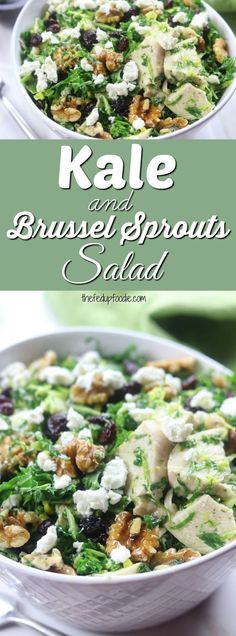 Kale and Brussel Sprouts Salad recipe has cranberries, walnuts, Chèvre, chicken and a simple lemon dill dressing. With some of the healthiest ingredients around, this salad is incredibly delicious and comforting. My husband loved it so much that he has asked that it be in our weekly menu rotation. #salad #healthy #lunch #dinner https://www.thefedupfoodie.com