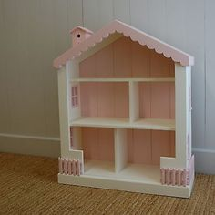 "Cottage Dollhouse Bookcase 15 Colors Solid Pine Wood 41"" High Playroom Bedroom"
