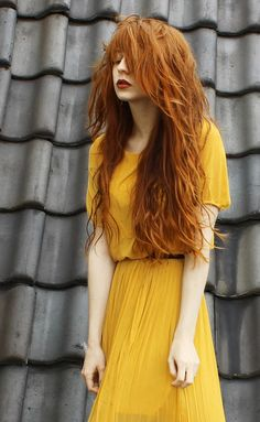 Red hair, yellow dress. (Nadia Esra from they call me redhead)