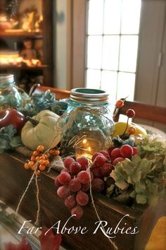 I love the addition of the mason jars. This is so my style. Just love it.