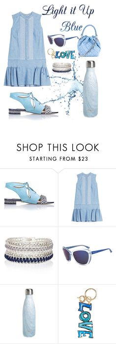 """Blue Dress..."" by grinevagh ❤ liked on Polyvore featuring Chelsea Paris, Ermanno Scervino, River Island, Michael Kors, S'well, Lanvin and STELLA McCARTNEY"
