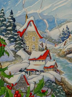 "Peinture ""River Village in Winter"" par Alida Akers (série Storybook Cottage)"