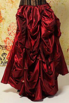 Deep Crimson Red Full Length Bustle Skirt by damselinthisdress
