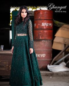 This handcrafted bridal ensemble from the house of Ghungat by Shaveta & Anuj is full of romantic intricate detailing for the modern bride who wants to feel and look refined, graceful, elegant, and above all, beautiful on her wedding day. Fancy Wedding Dresses, Party Wear Dresses, Bridal Dresses, Designer Bridal Lehenga, Bridal Lehenga Choli, Bridal Anarkali Suits, Indian Gowns Dresses, Pakistani Dresses, Indian Designer Outfits