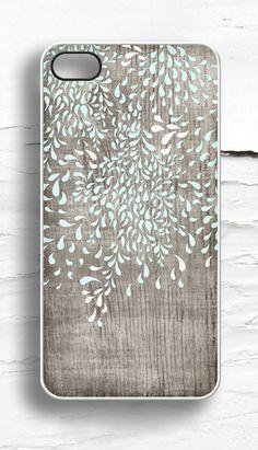 Floral Mint  Faux Wood iPhone Case