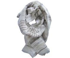 Foulard lin bleu et blanc - Modèle SALERNE en lin à découvrir sur Saheline.com | Saheline.com