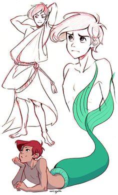 [The Little Mermaid (Disney Genderbend)] Ariel Disney Pixar, Disney Animation, Disney Cartoons, Disney Kunst, Disney Fan Art, Disney And Dreamworks, Disney Ships, Gender Bent Disney, Disney Gender Swap