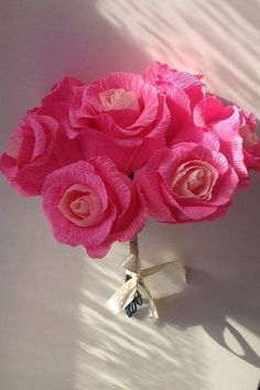 PINK birthday bouquet high quality crepe paper by moniaflowers