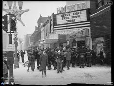 Found this photo under Lincoln records. Photograph of the Husker Theater. Street sign in front says Highway 2 and HIghway Picture looks like the. Nebraska State, Lincoln Nebraska, 1940s Photos, Vintage Photos, Missouri River, Street Signs, Historical Society, History Books, Movie Theater