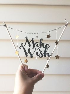 Sparkling Happy Birthday card cake topper bunting garland / make a wish decoration banner / black glitter paper / centerpiece