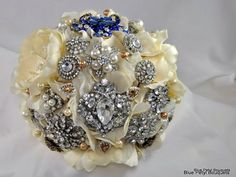 """Something Blue"" Jeweled Flower Bouquet by Blue Petyl #bridal #bouquet #blue"