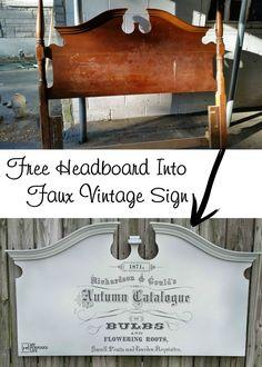 free headboard into faux vintage seed catalog sign MyRepurposedLife.com