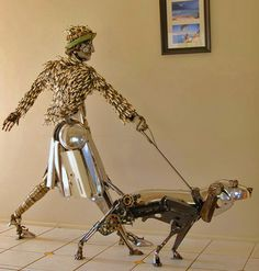 Made entirely from vintage auto parts. Artist is Australian James Corbett